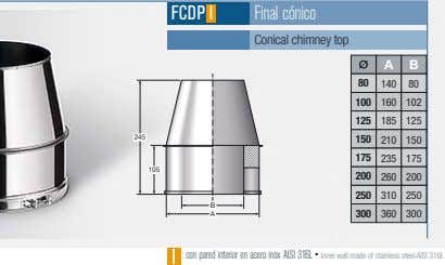 FCDP I Final cónico Conical chimney top A B 80 140 80 100 160 102