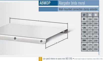ABMDP Alargador brida mural Wall-mounted connection clamp extender A B 80 208 200 A 100