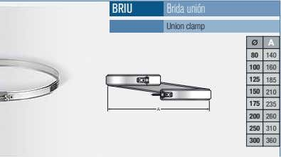 BRIU Brida unión Union clamp A 80 140 100 160 125 185 150 210 175