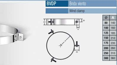 BVDP Brida viento Wind clamp A 20 40 80 140 100 160 15 125 185