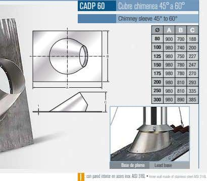 CADP 60 Cubre chimenea 45°a 60° Chimney sleeve 45° to 60° A B C 80
