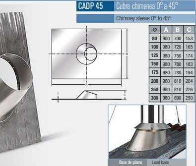 CADP 45 Cubre chimenea 0°a 45° Chimney sleeve 0° to 45° A B C 80