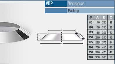 VDP Vierteaguas Flashing A B C 80 140 260 38 100 160 280 38 A