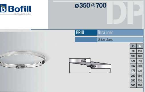 BRIU Brida unión Union clamp A 80 410 100 460 125 510 150 560 175