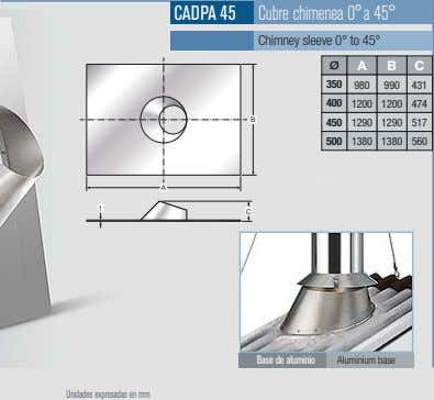 CADPA 45 Cubre chimenea 0°a 45° Chimney sleeve 0° to 45° A B C 350