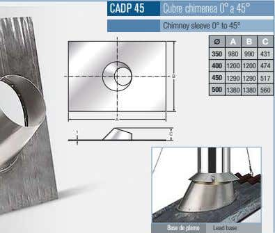 CADP 45 Cubre chimenea 0°a 45° Chimney sleeve 0° to 45° A B C 350