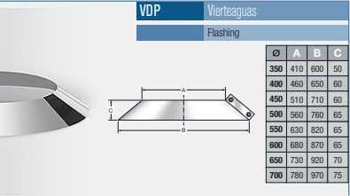 VDP Vierteaguas Flashing A B C 350 410 600 50 400 460 650 60 A