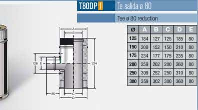 T80DP I Te salida ø 80 Tee ø 80 reduction A A B C D
