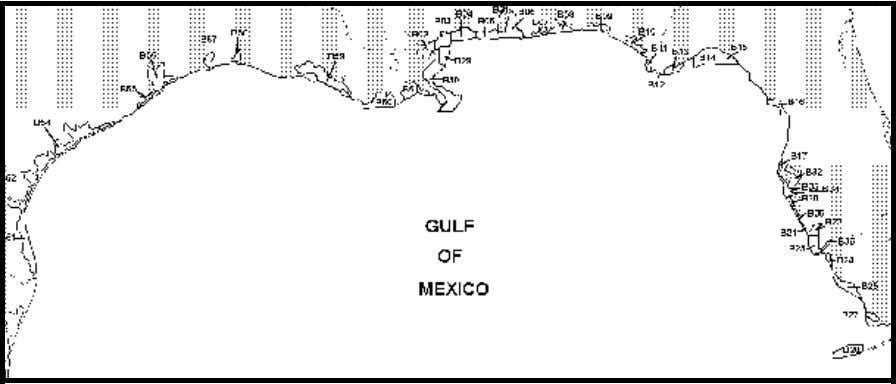 Figure 1. U.S. Gulf of Mexico bays and sounds. Each of the alpha-numerically designated blocks corresponds