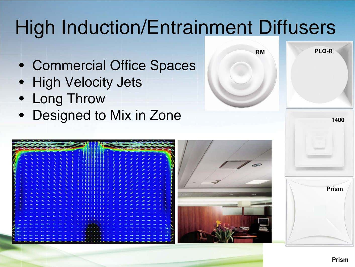 High Induction/Entrainment Diffusers RM PLQ-R • Commercial Office Spaces • High Velocity Jets • Long