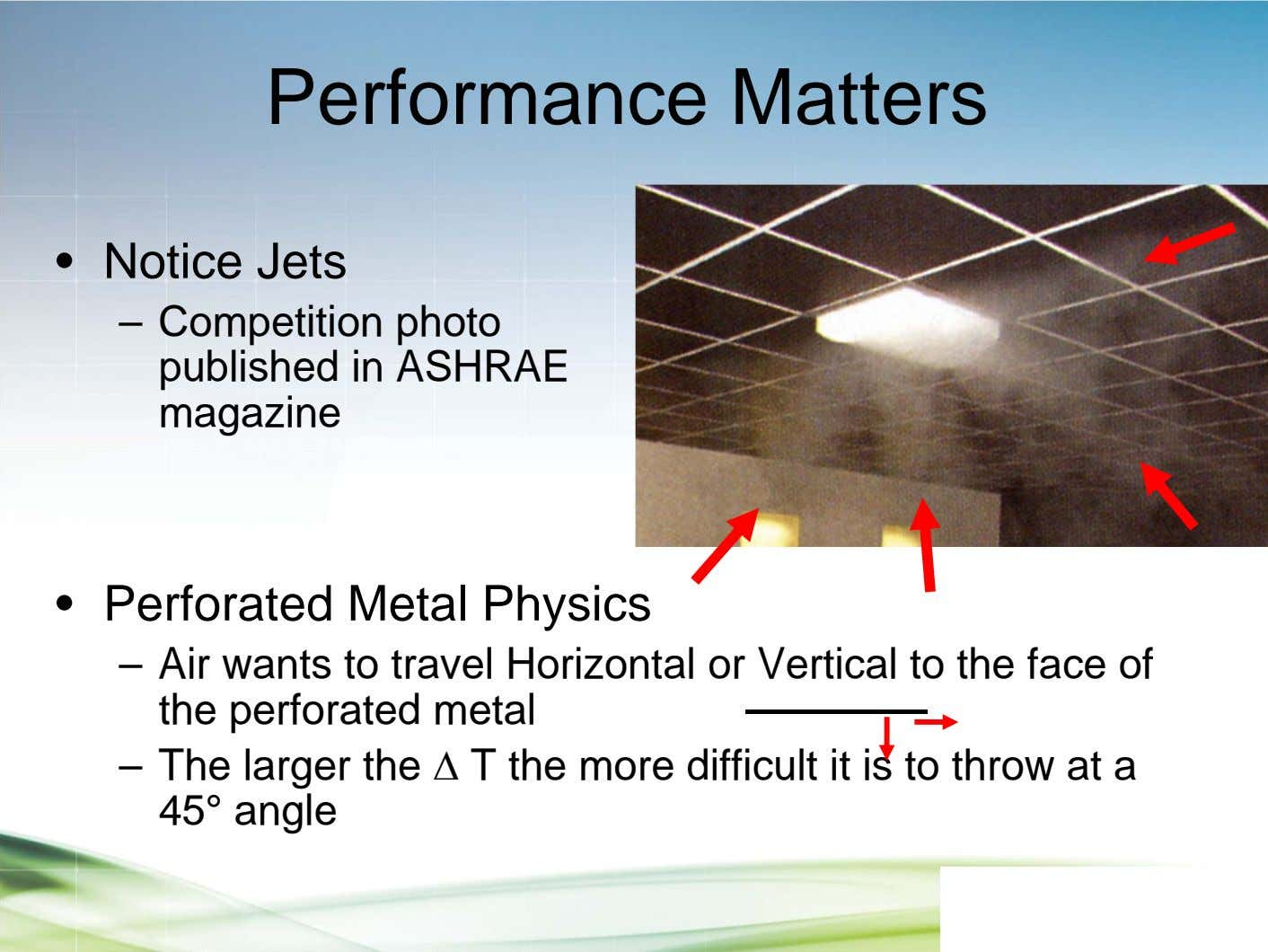 Performance Matters • Notice Jets – Competition photo published in ASHRAE magazine • Perforated Metal
