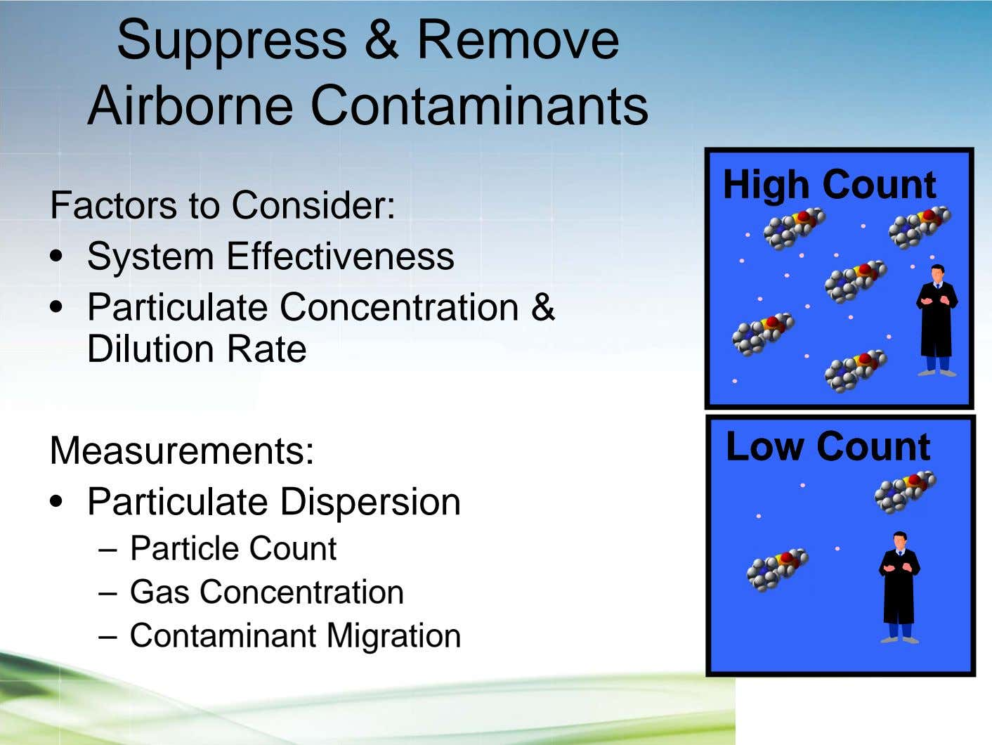 Suppress & Remove Airborne Contaminants HighHigh CountCount Factors to Consider: • System Effectiveness •