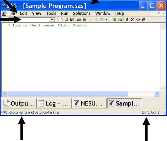 of the SAS Enhanced Editor window. Title Bar Menu Bar Command Bar Current Working Folder Cursor
