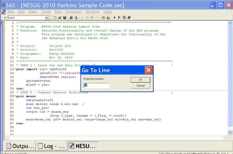 by the red line number) and the cursor is moved to line 29. Showing Brackets and