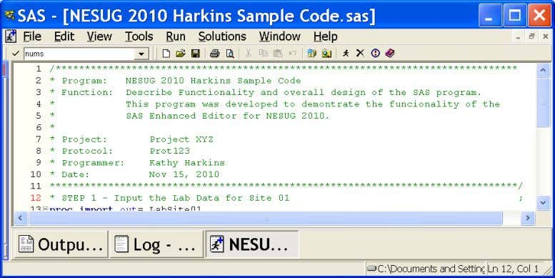 NESUG 2010 Foundations and Fundamentals In order to select line number preferences: From the Command Bar