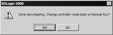 OK to switch the processor from Program mode to Run mode. Note: If you receive an