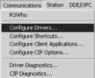 Open the Communications menu, and choose Configure Drivers. This action opens the Configure Drivers dialog box.