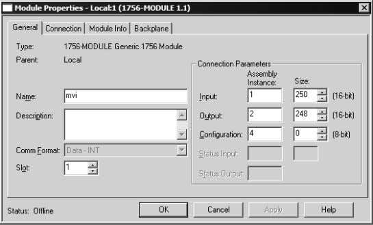 OK. This action opens the Module Properties dialog box. Fill in the fields as shown, with
