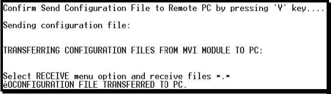 the dialog box will indicate that the transfer is complete. The configuration file is now on
