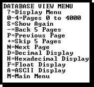 Press [?] to view a list of commands on this menu. All data contained in the