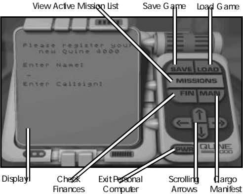 View Active Mission List Save Game Load Game Display Check Exit Personal Scrolling Cargo Finances Computer