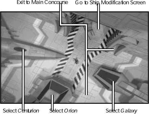 Exit to Main Concourse Go to Ship Modification Screen Select Centurion Select Orion Select Galaxy