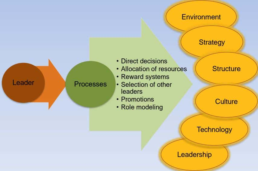 Environment Strategy • Direct decisions • Allocation of resources Structure • Reward systems Leader
