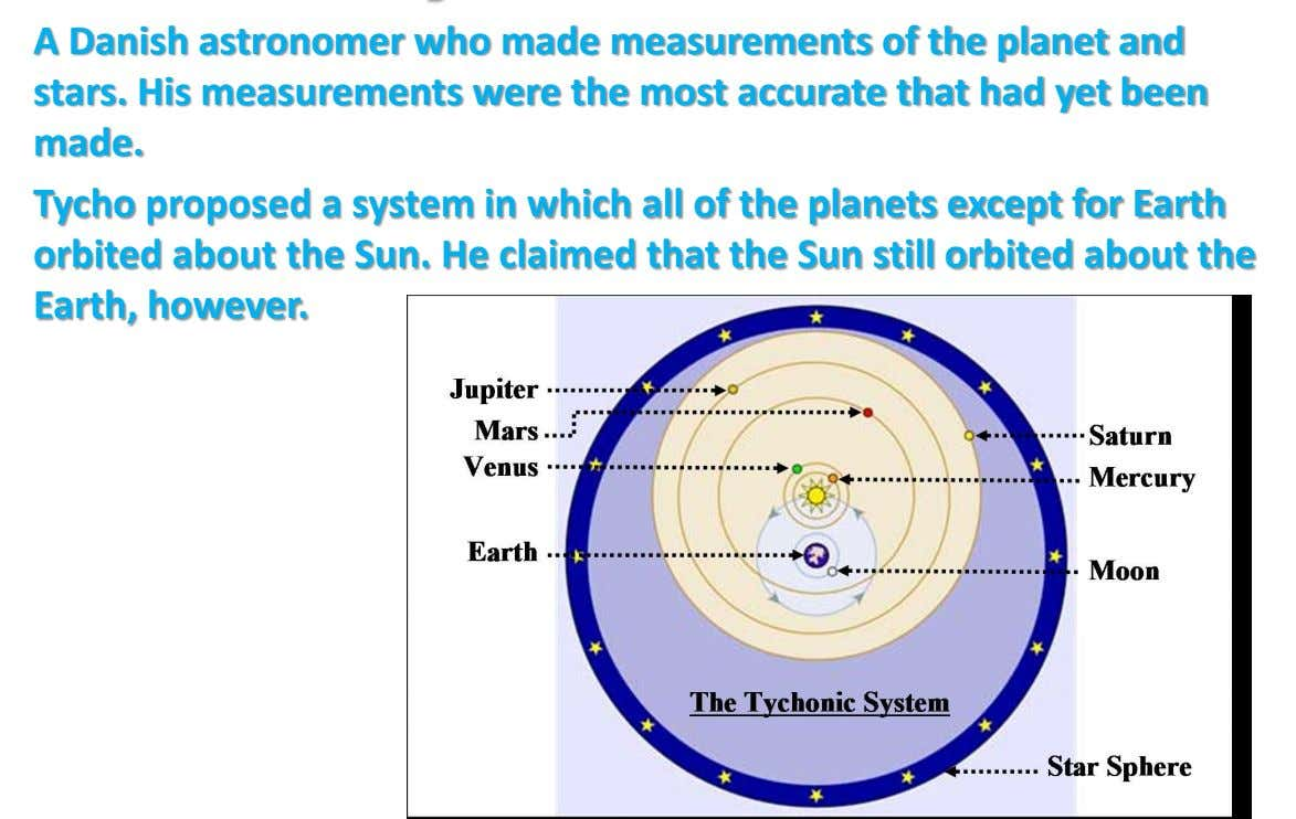 A Danish astronomer who made measurements of the planet and stars. His measurements were the most