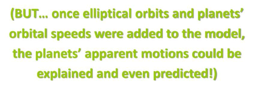 (BUT… once elliptical orbits and planets' orbital speeds were added to the model, the planets' apparent