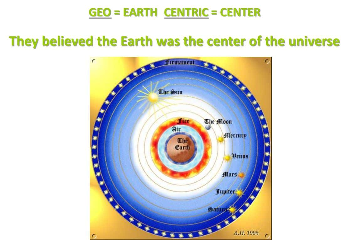 GEO = EARTH CENTRIC = CENTER They believed the Earth was the center of the universe