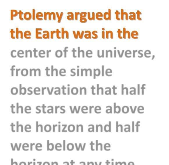Ptolemy argued that the Earth was in the