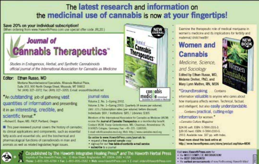 in Medicine in Cologne, on 12-13 Sept., 2003 medical marijuana journal and scientific the ICRS which