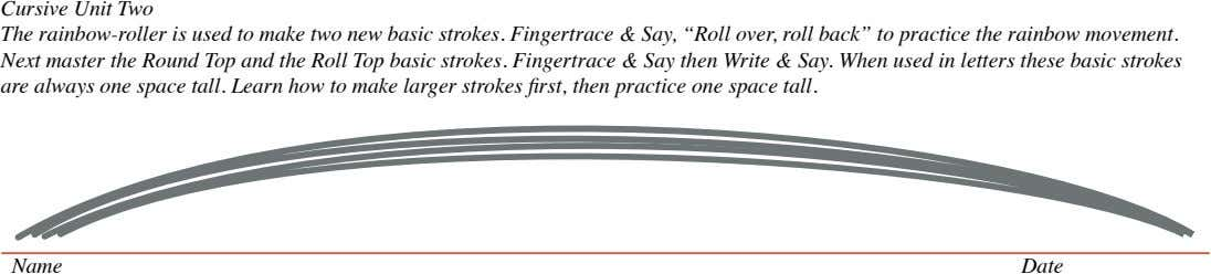 Cursive Unit Two The rainbow-roller is used to make two new basic strokes. Fingertrace &