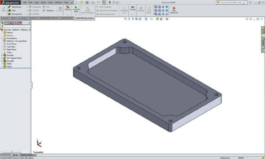 the solid body of the cover. 1. Load the SolidWorks model To activate SolidCAM, click Tools