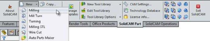 SolidCAM > New > Milling . Alternatively, you can or click New > Milling on the