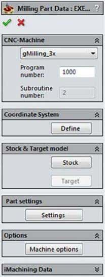 creation. The CAM-Part is defined, and its structure is created. The Milling Part Data dialog box