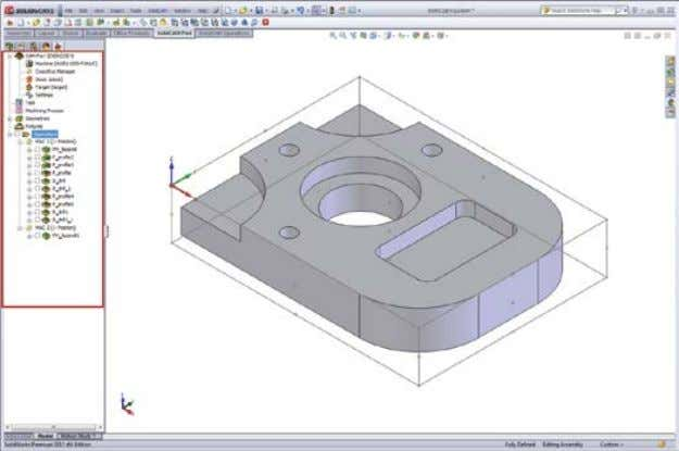 that displays complete information about the CAM-Part. SolidCAM Manager The SolidCAM Manager tree contains the