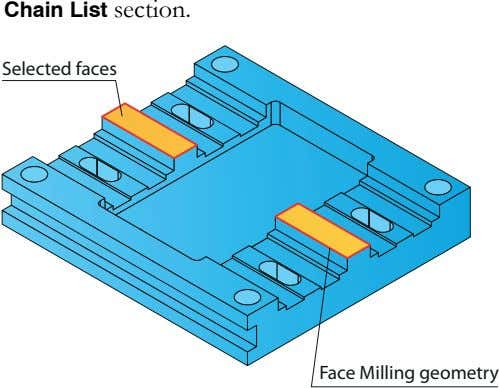 Chain List section. Selected faces Face Milling geometry