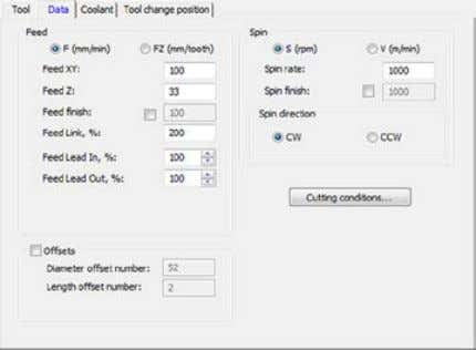 in the Tool section of the Profile Operation dialog box. Set the Spin rate (used in