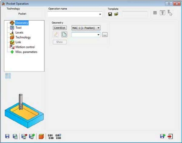 operation and choose Pocket from the Add Milling Operation submenu. The Pocket Operation dialog box is