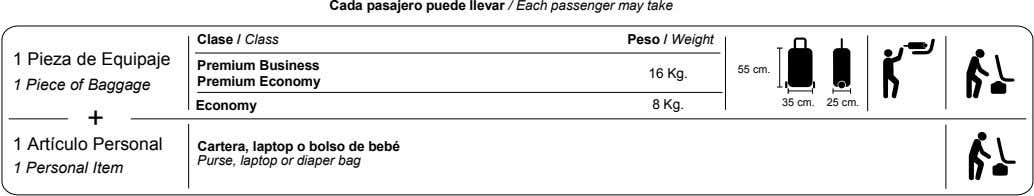 Cada pasajero puede llevar / Each passenger may take Clase / Class Peso / Weight