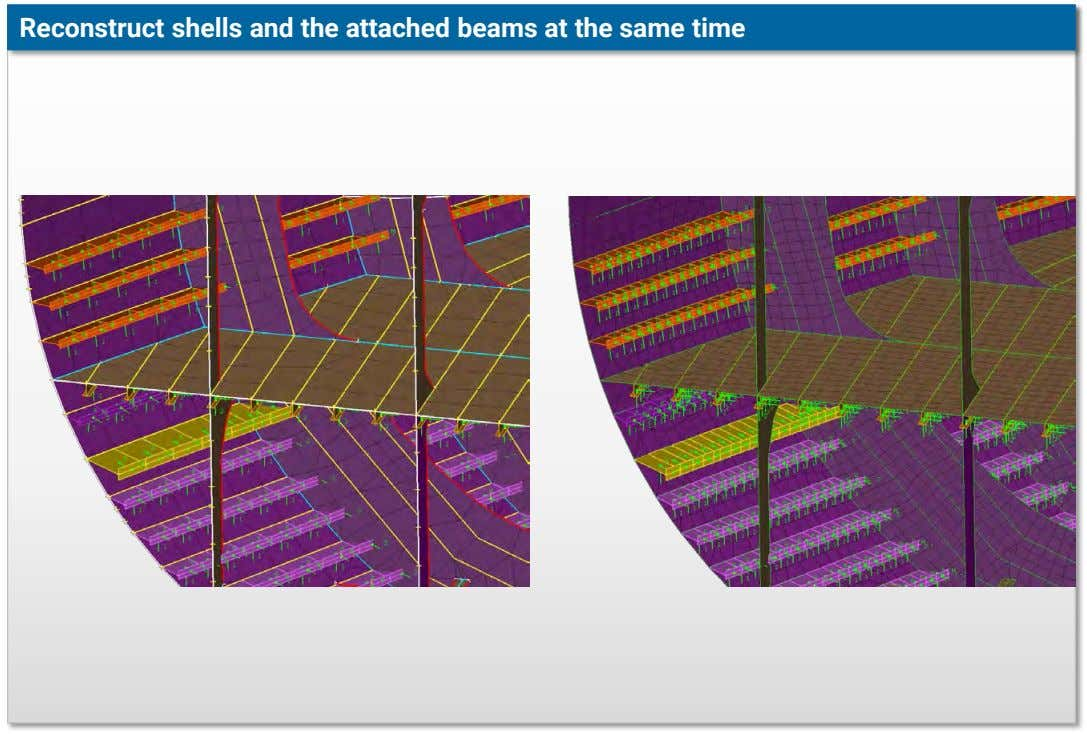 Reconstruct shells and the attached beams at the same time