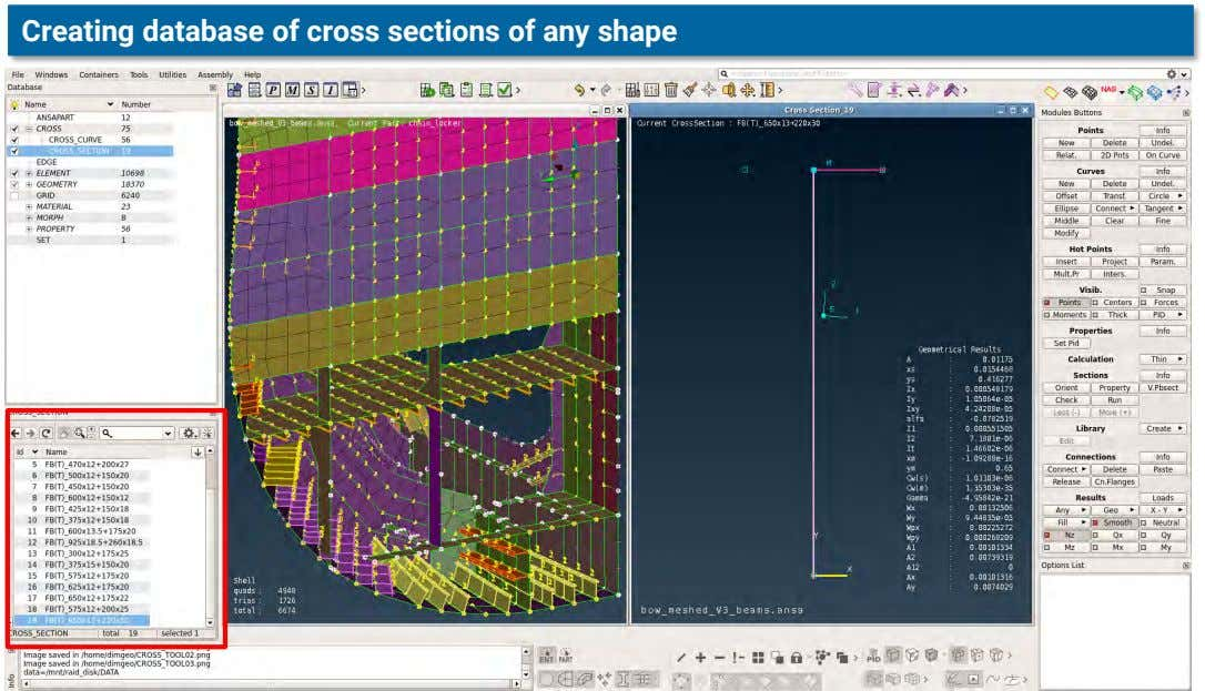Creating database of cross sections of any shape