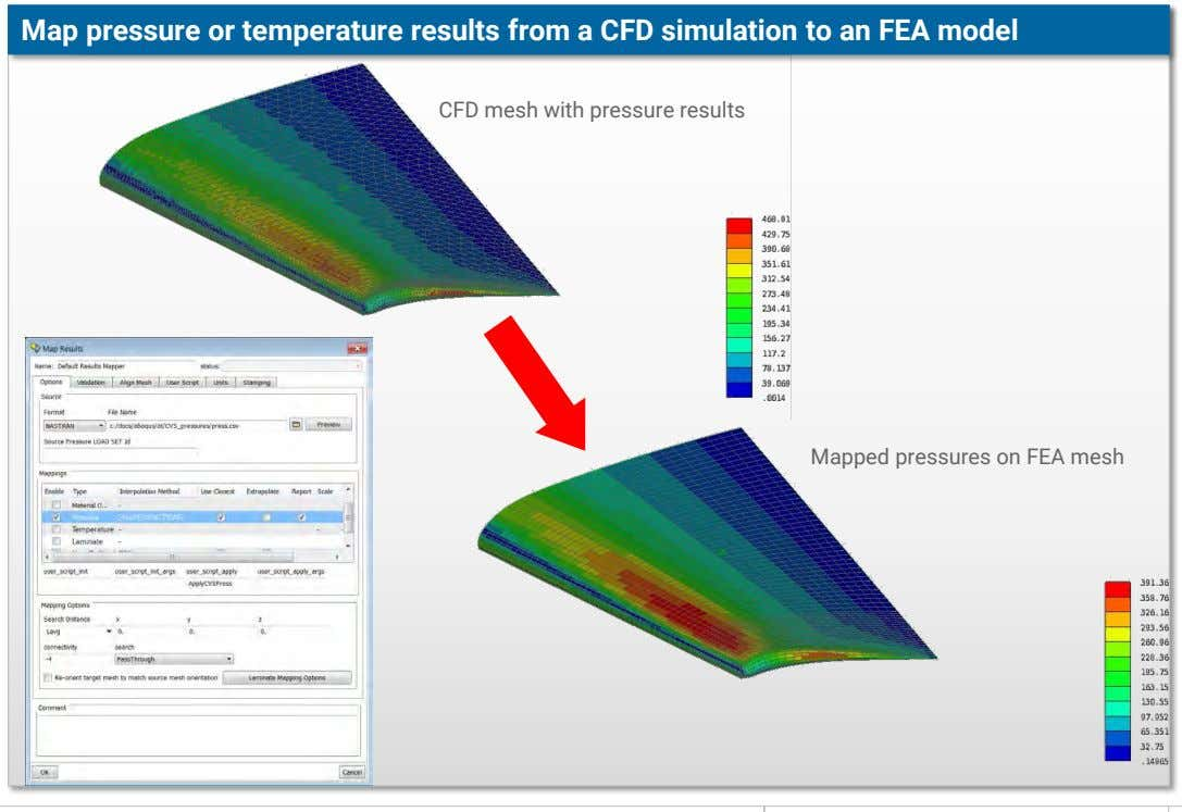 Map pressure or temperature results from a CFD simulation to an FEA model CFD mesh