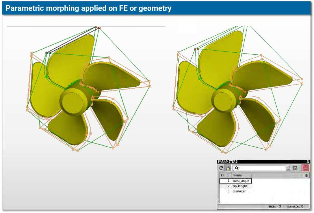 Parametric morphing applied on FE or geometry