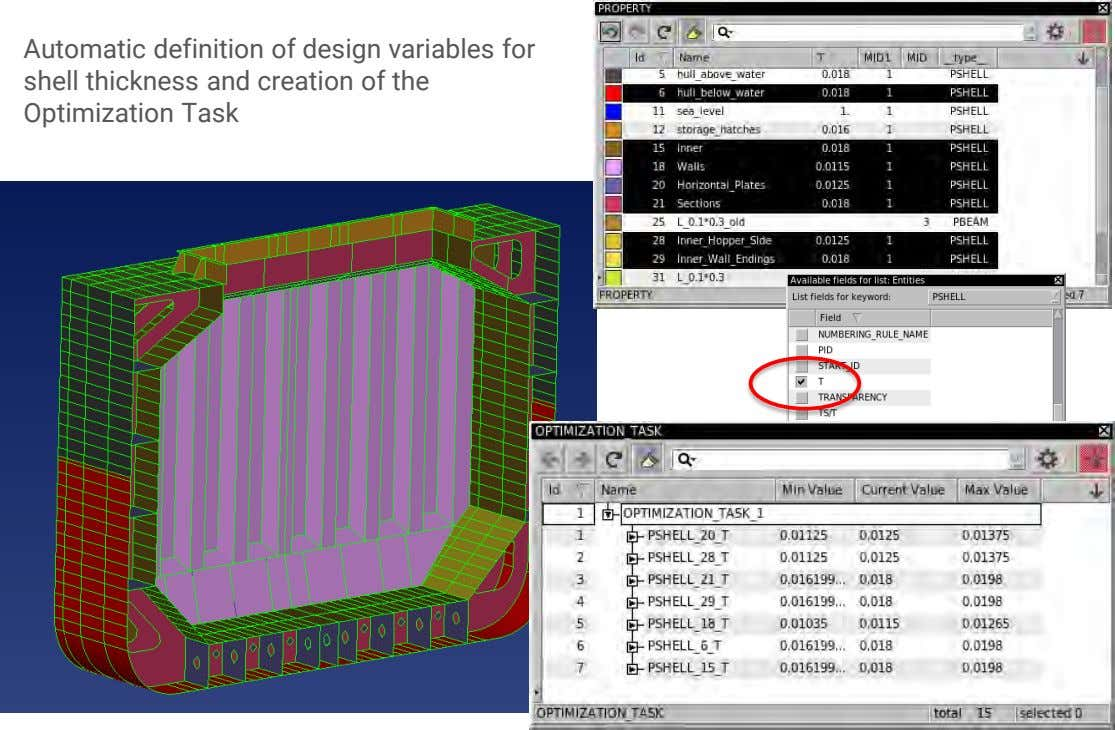 Automatic definition of design variables for shell thickness and creation of the Optimization Task