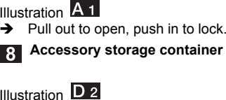 Illustration  Pull out to open, push in to lock. Accessory storage container Illustration