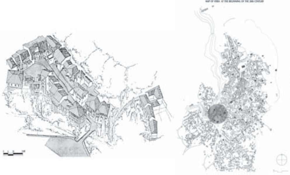 Barbouta, the Jewish quarter of Veria. Axonometric, situation plan and river elevations. 36