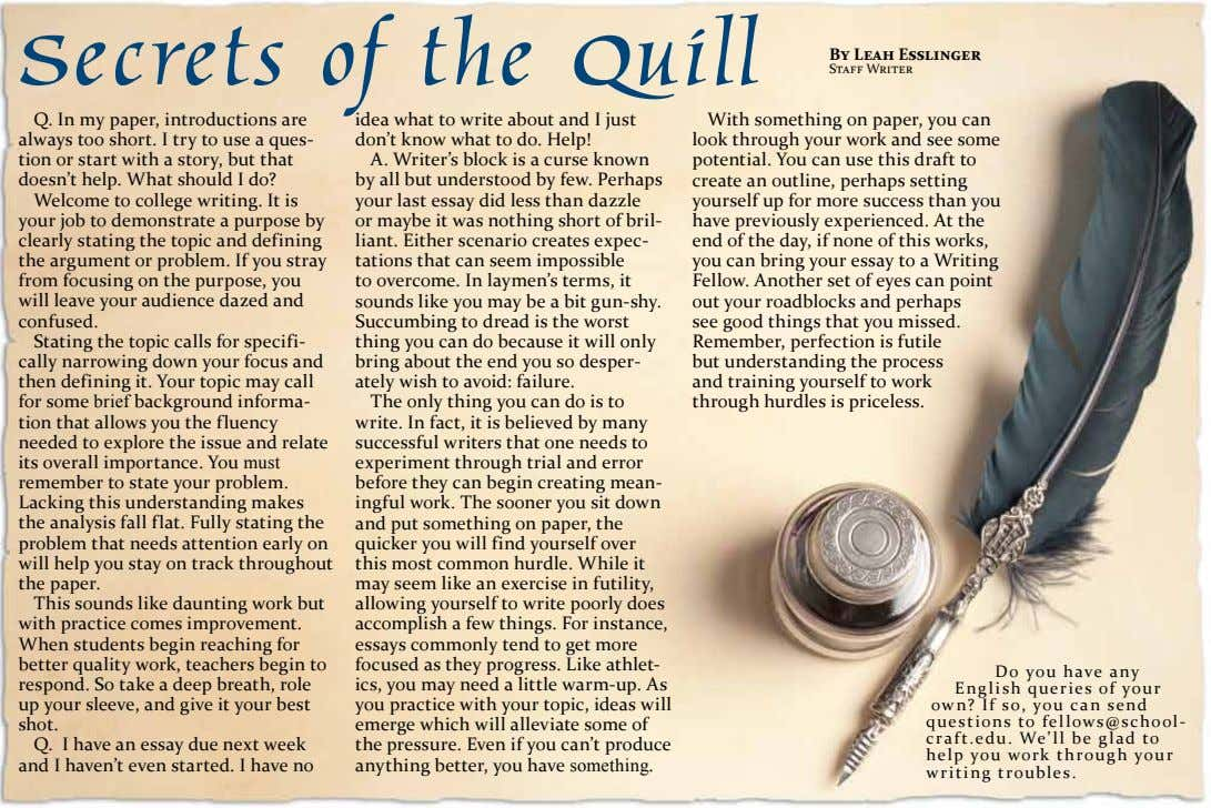Secrets of the Quill