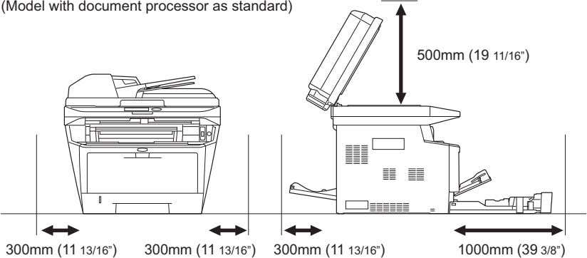"(Model with document processor as standard) 500mm (19 11/16"") 300mm (11 13/16"") 300mm (11 13/16"")"